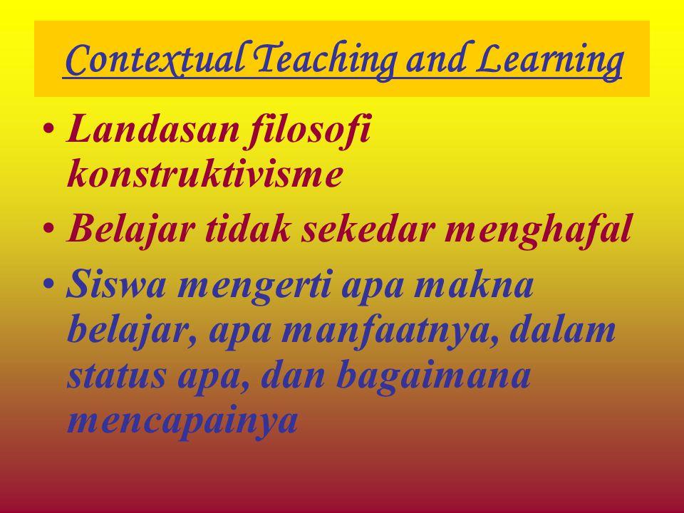 Contextual Teaching and Learning Landasan filosofi konstruktivisme Belajar tidak sekedar menghafal Siswa mengerti apa makna belajar, apa manfaatnya, d
