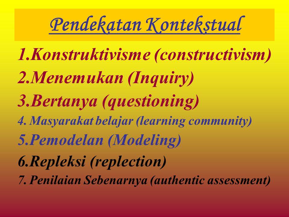Pendekatan Kontekstual 1.Konstruktivisme (constructivism) 2.Menemukan (Inquiry) 3.Bertanya (questioning) 4.Masyarakat belajar (learning community) 5.P