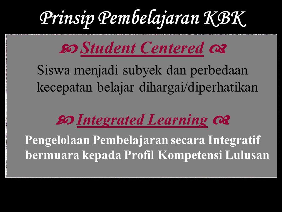 Prinsip Pembelajaran KBK  Student Centered  Siswa menjadi subyek dan perbedaan kecepatan belajar dihargai/diperhatikan  Integrated Learning  Penge