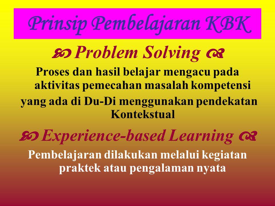 Prinsip Pembelajaran KBK  Problem Solving  Proses dan hasil belajar mengacu pada aktivitas pemecahan masalah kompetensi yang ada di Du-Di menggunaka