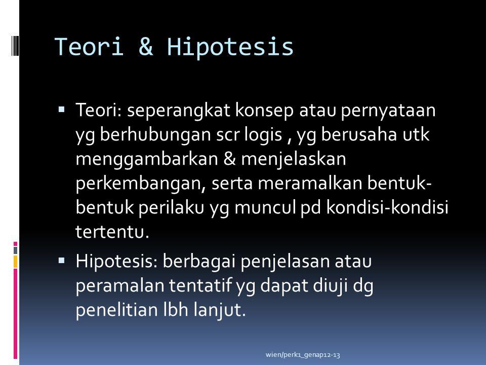 Teori & Hipotesis  Teori: seperangkat konsep atau pernyataan yg berhubungan scr logis, yg berusaha utk menggambarkan & menjelaskan perkembangan, sert