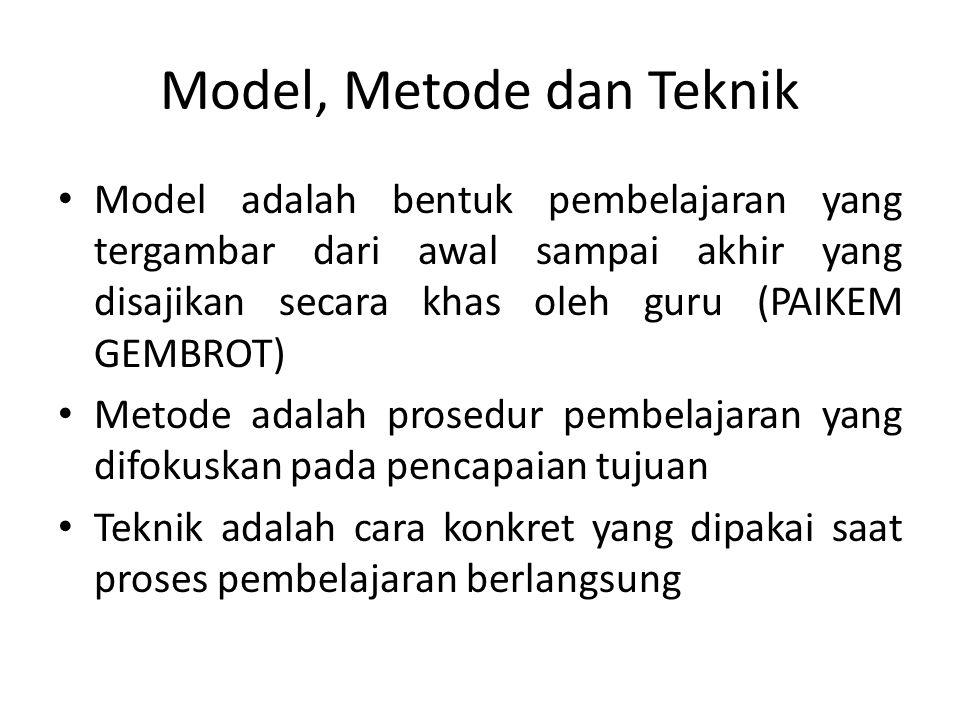 Model, Metode dan Teknik Model adalah bentuk pembelajaran yang tergambar dari awal sampai akhir yang disajikan secara khas oleh guru (PAIKEM GEMBROT)