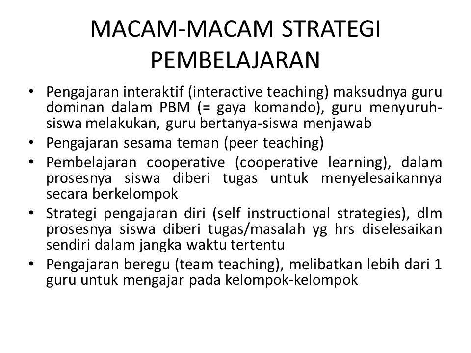 MACAM-MACAM STRATEGI PEMBELAJARAN Pengajaran interaktif (interactive teaching) maksudnya guru dominan dalam PBM (= gaya komando), guru menyuruh- siswa