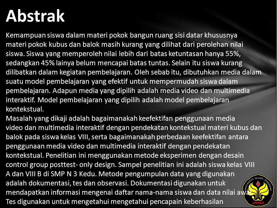 Kata Kunci media video, multimedia interaktif, penekatan kontekstual
