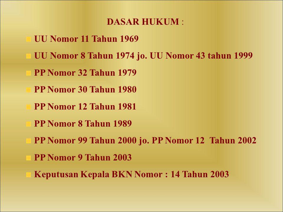 DASAR HUKUM : UU Nomor 11 Tahun 1969 UU Nomor 8 Tahun 1974 jo.