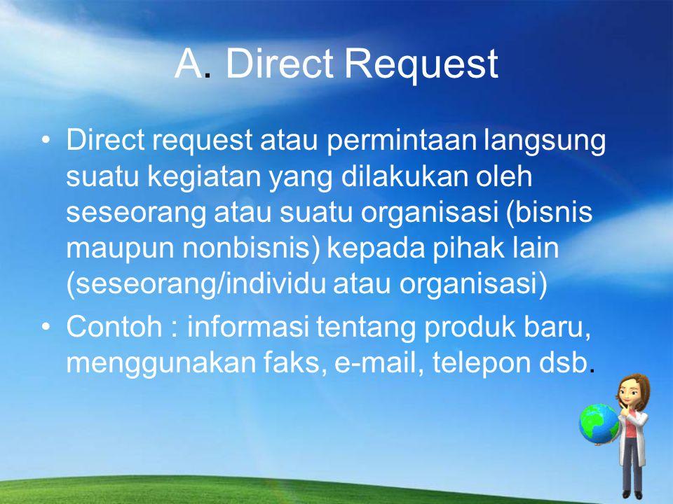 Pengorganisasian direct request : 1.Bagian awal : sajikan ide pokok dengan diikuti dengan fakta- fakta yang rinci.