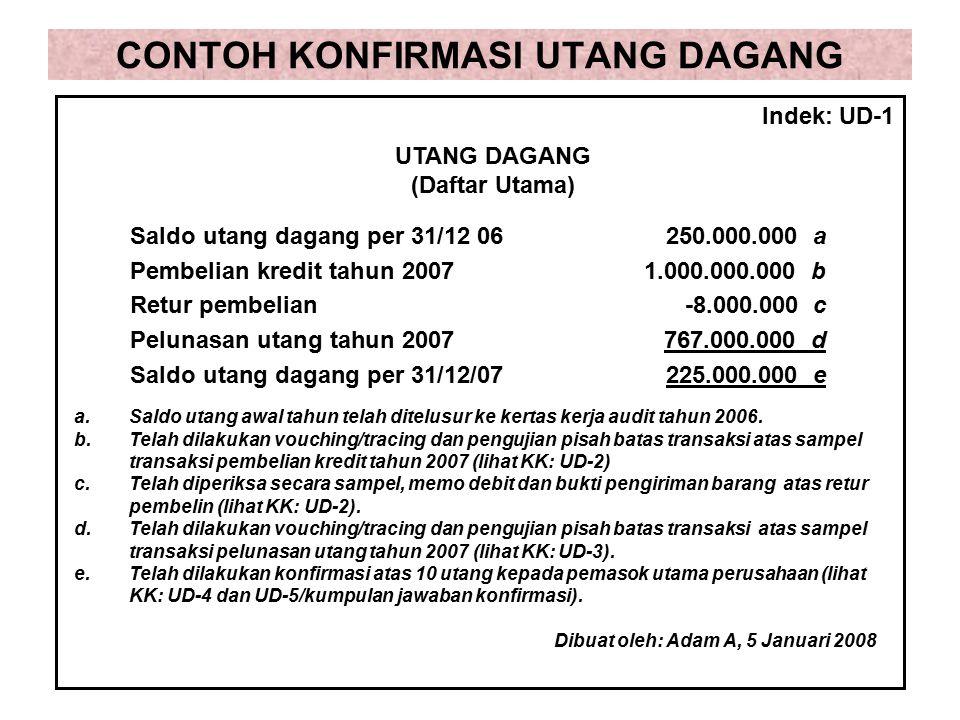 CONTOH KONFIRMASI UTANG DAGANG Saldo utang dagang per 31/12 06250.000.000 a Pembelian kredit tahun 20071.000.000.000 b Retur pembelian-8.000.000 c Pel