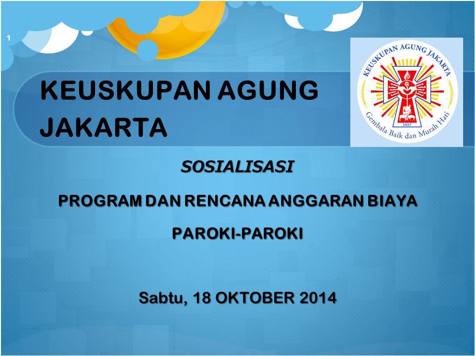 KEUSKUPAN AGUNG JAKARTA SOSIALISASI PROGRAM DAN RENCANA ANGGARAN BIAYA PAROKI-PAROKI Sabtu, 18 OKTOBER 2014 1