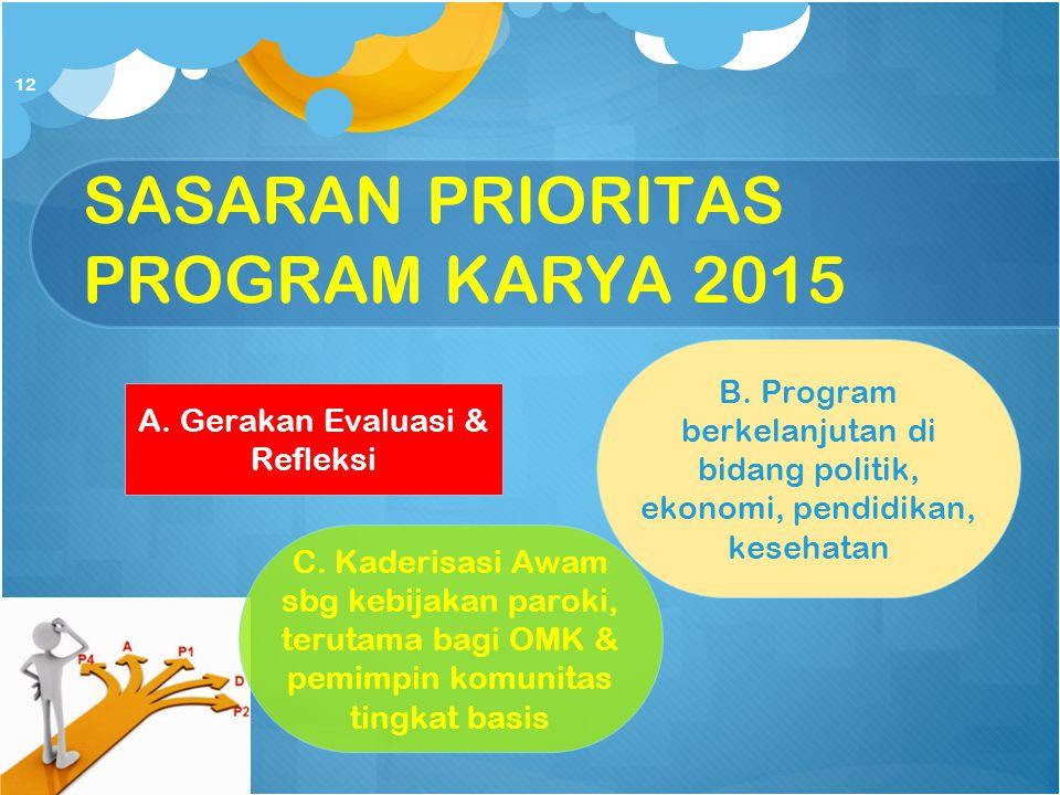SASARAN PRIORITAS PROGRAM KARYA 2015 A. Gerakan Evaluasi & Refleksi B. Program berkelanjutan di bidang politik, ekonomi, pendidikan, kesehatan C. Kade