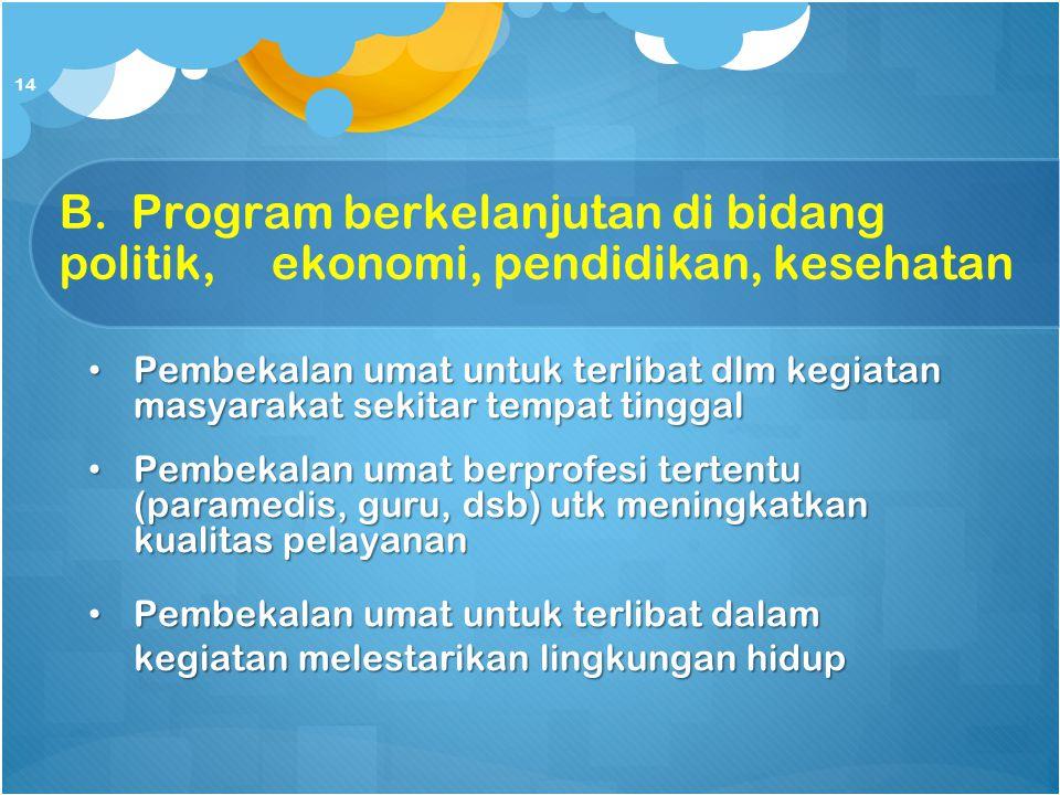 B. Program berkelanjutan di bidang politik,ekonomi, pendidikan, kesehatan Pembekalan umat untuk terlibat dlm kegiatan masyarakat sekitar tempat tingga