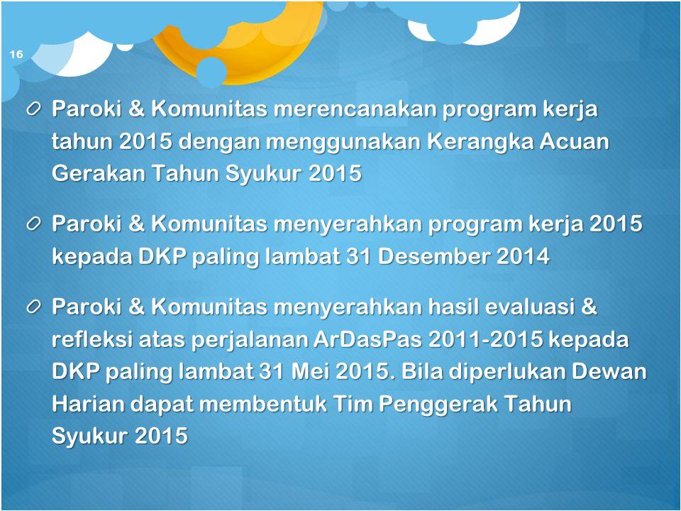 Paroki & Komunitas merencanakan program kerja tahun 2015 dengan menggunakan Kerangka Acuan Gerakan Tahun Syukur 2015 Paroki & Komunitas menyerahkan pr