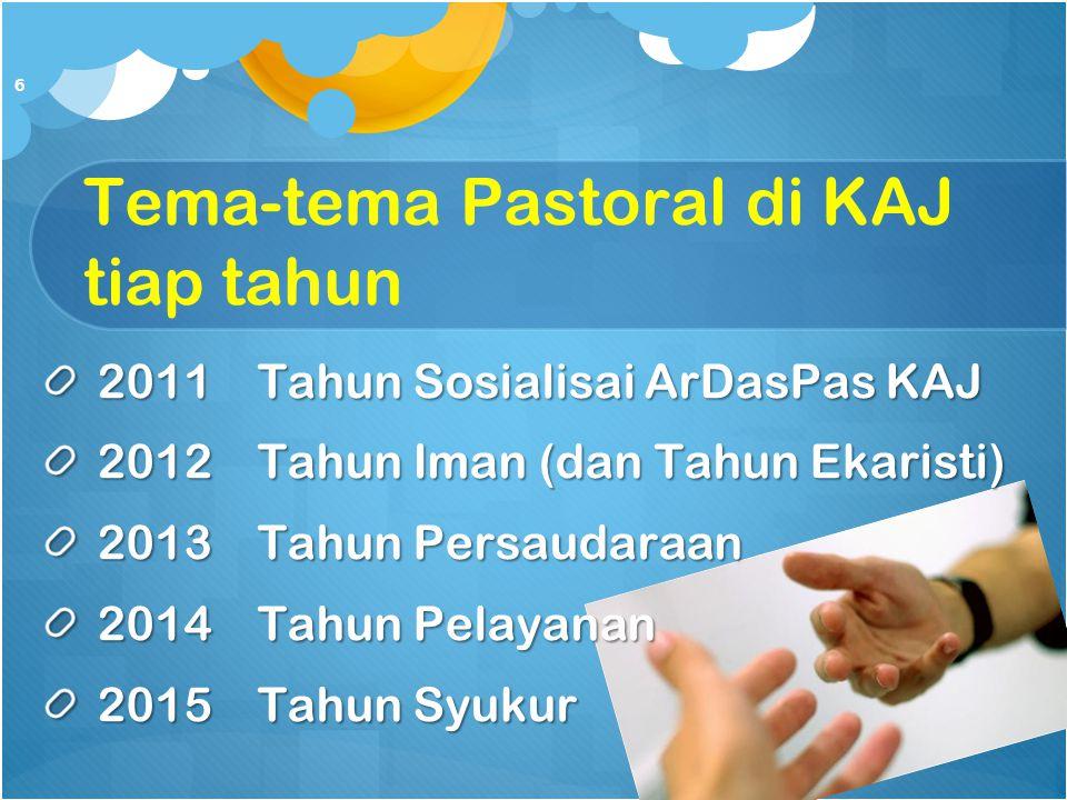 Tema-tema Pastoral di KAJ tiap tahun 2011Tahun Sosialisai ArDasPas KAJ 2012Tahun Iman (dan Tahun Ekaristi) 2013Tahun Persaudaraan 2014Tahun Pelayanan