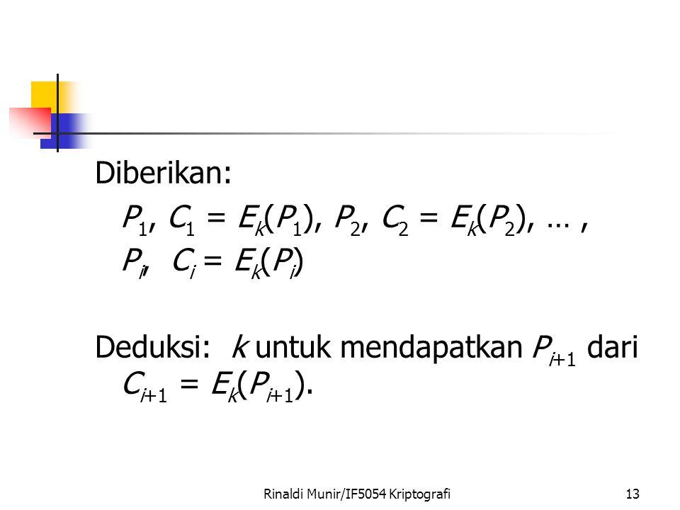Rinaldi Munir/IF5054 Kriptografi13 Diberikan: P 1, C 1 = E k (P 1 ), P 2, C 2 = E k (P 2 ), …, P i, C i = E k (P i ) Deduksi: k untuk mendapatkan P i+1 dari C i+1 = E k (P i+1 ).