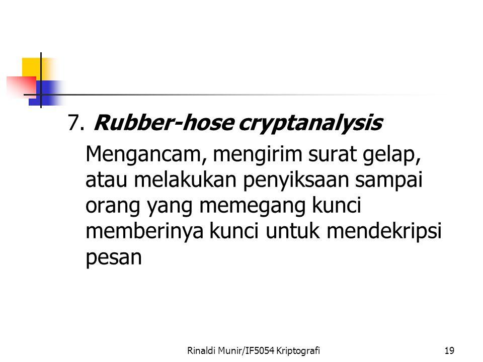 Rinaldi Munir/IF5054 Kriptografi19 7. Rubber-hose cryptanalysis Mengancam, mengirim surat gelap, atau melakukan penyiksaan sampai orang yang memegang