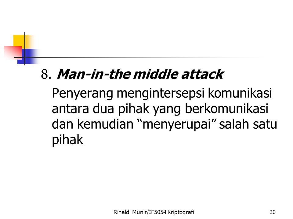 "Rinaldi Munir/IF5054 Kriptografi20 8. Man-in-the middle attack Penyerang mengintersepsi komunikasi antara dua pihak yang berkomunikasi dan kemudian ""m"