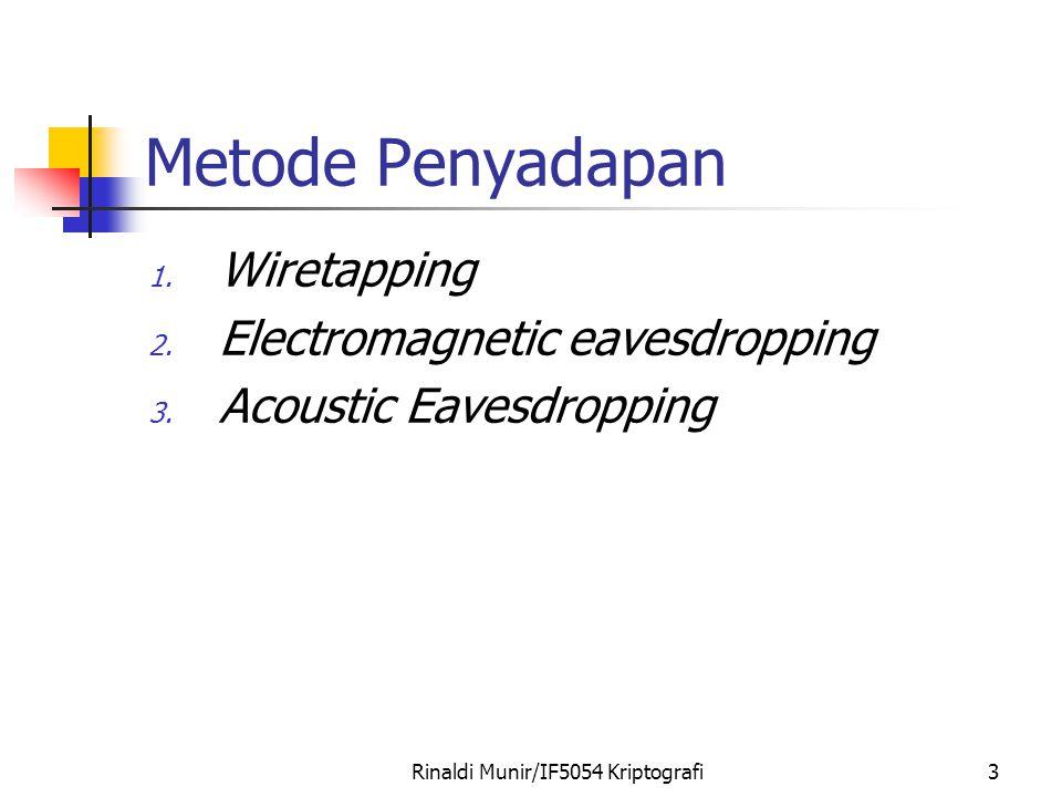 Rinaldi Munir/IF5054 Kriptografi3 Metode Penyadapan 1. Wiretapping 2. Electromagnetic eavesdropping 3. Acoustic Eavesdropping