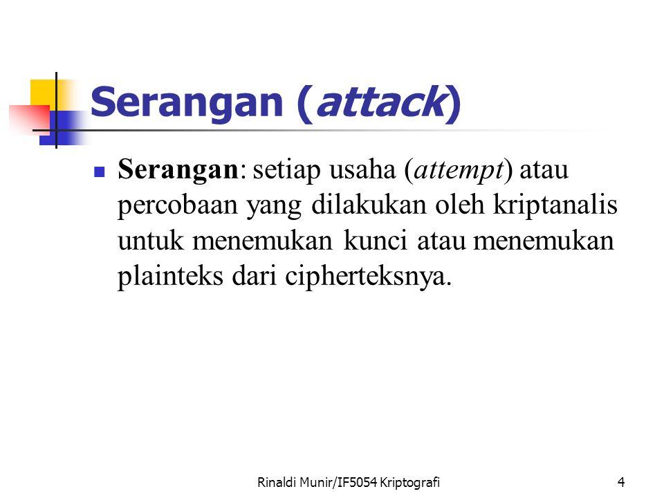 Rinaldi Munir/IF5054 Kriptografi4 Serangan (attack) Serangan: setiap usaha (attempt) atau percobaan yang dilakukan oleh kriptanalis untuk menemukan kunci atau menemukan plainteks dari cipherteksnya.