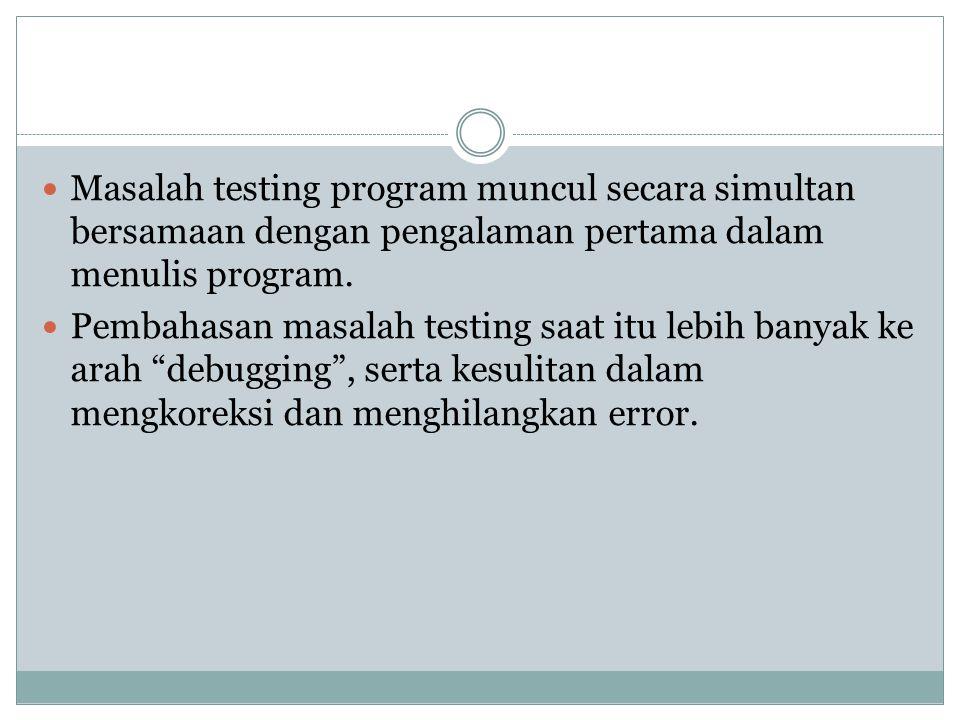 Masalah testing program muncul secara simultan bersamaan dengan pengalaman pertama dalam menulis program. Pembahasan masalah testing saat itu lebih ba