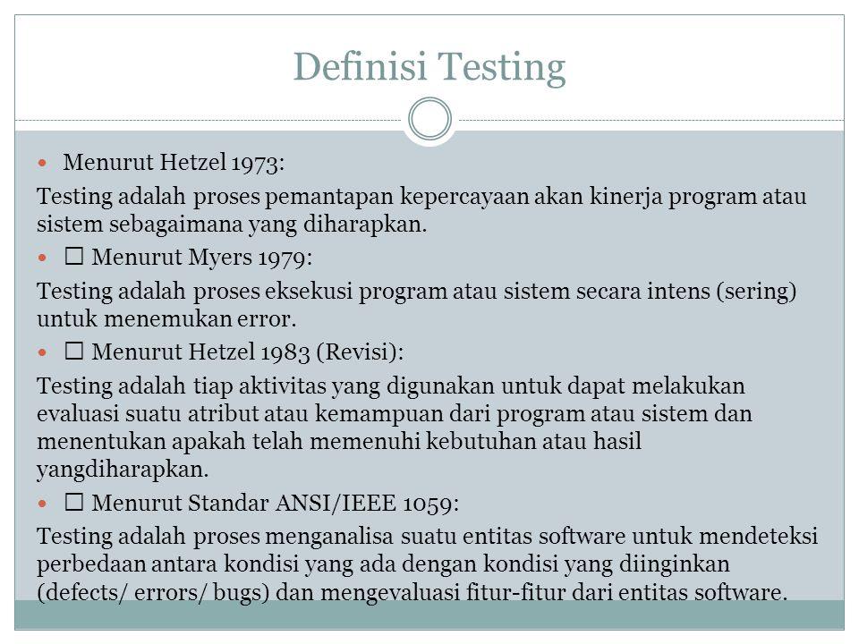 Testing software adalah proses mengoperasikan software dalam suatu kondisi yang di kendalikan, untuk: (1) verifikasi apakah telah berlaku sebagaimana telah ditetapkan (menurut spesifikasi), (2) mendeteksi error, dan (3) validasi apakah spesifikasi yangtelah ditetapkan sudah memenuhi keinginan atau kebutuhan dari pengguna yang sebenarnya.