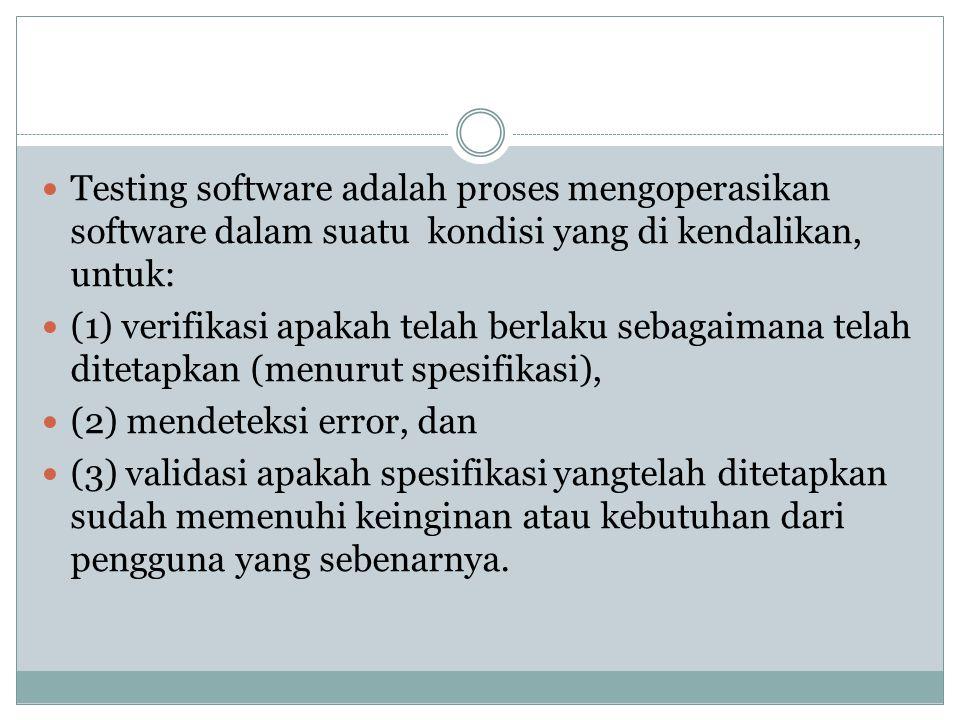 Testing software adalah proses mengoperasikan software dalam suatu kondisi yang di kendalikan, untuk: (1) verifikasi apakah telah berlaku sebagaimana