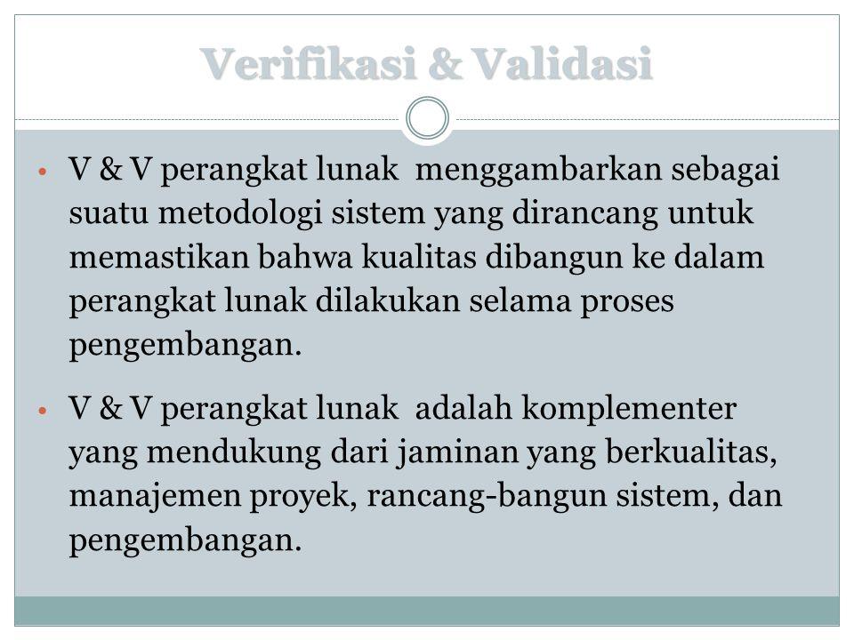 Verifikasi & Validasi V & V perangkat lunak menggambarkan sebagai suatu metodologi sistem yang dirancang untuk memastikan bahwa kualitas dibangun ke d