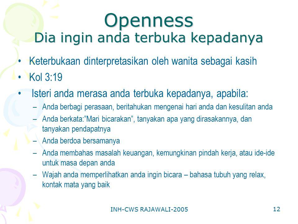 INH-CWS RAJAWALI-2005 12 Openness Dia ingin anda terbuka kepadanya Keterbukaan dinterpretasikan oleh wanita sebagai kasih Kol 3:19 Isteri anda merasa