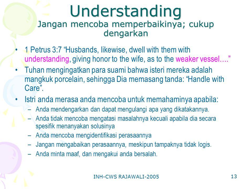 "INH-CWS RAJAWALI-2005 13 Understanding Jangan mencoba memperbaikinya; cukup dengarkan 1 Petrus 3:7 ""Husbands, likewise, dwell with them with understan"