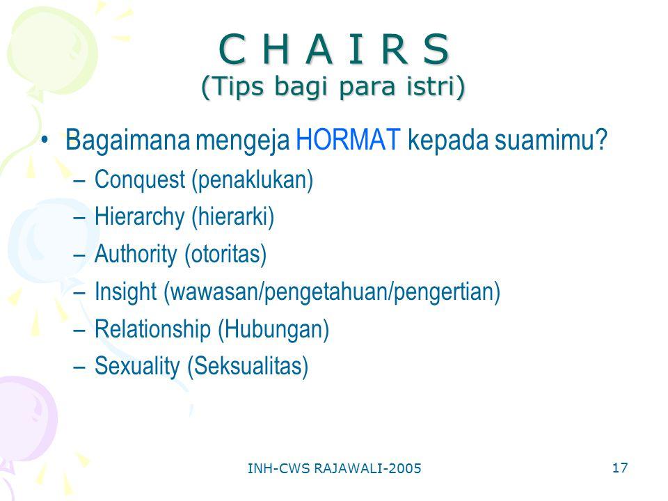 INH-CWS RAJAWALI-2005 17 C H A I R S (Tips bagi para istri) Bagaimana mengeja HORMAT kepada suamimu? –Conquest (penaklukan) –Hierarchy (hierarki) –Aut