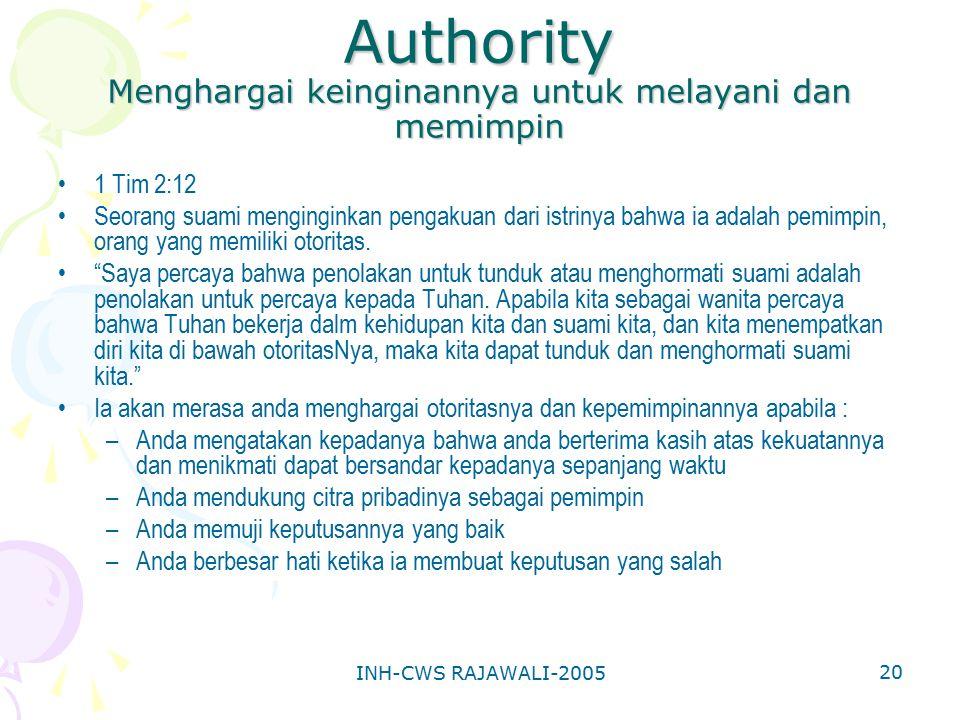 INH-CWS RAJAWALI-2005 20 Authority Menghargai keinginannya untuk melayani dan memimpin 1 Tim 2:12 Seorang suami menginginkan pengakuan dari istrinya b