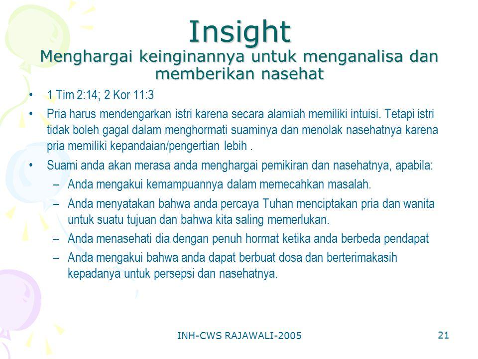 INH-CWS RAJAWALI-2005 21 Insight Menghargai keinginannya untuk menganalisa dan memberikan nasehat 1 Tim 2:14; 2 Kor 11:3 Pria harus mendengarkan istri