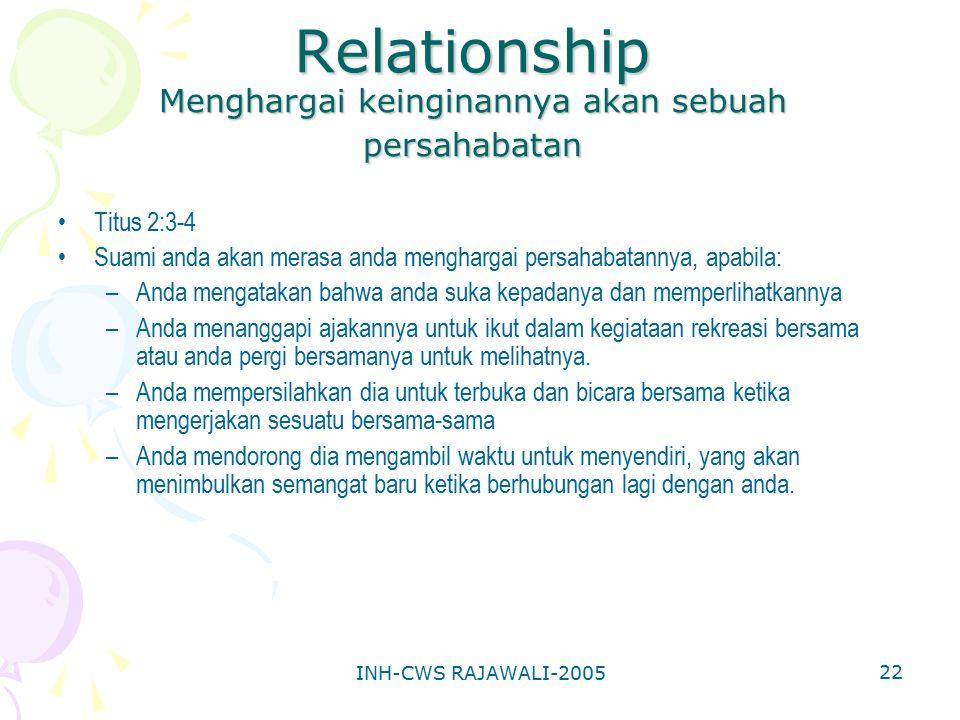 INH-CWS RAJAWALI-2005 22 Relationship Menghargai keinginannya akan sebuah persahabatan Titus 2:3-4 Suami anda akan merasa anda menghargai persahabatan