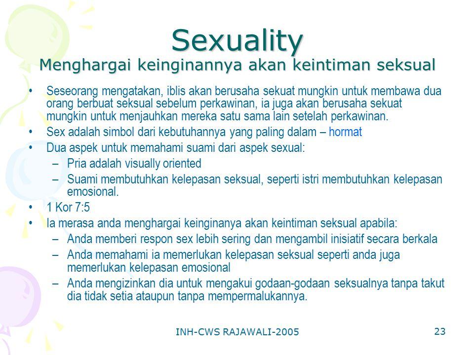 INH-CWS RAJAWALI-2005 23 Sexuality Menghargai keinginannya akan keintiman seksual Seseorang mengatakan, iblis akan berusaha sekuat mungkin untuk memba