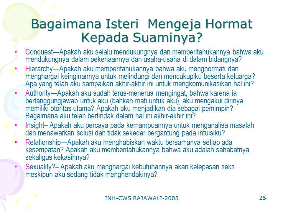 INH-CWS RAJAWALI-2005 25 Bagaimana Isteri Mengeja Hormat Kepada Suaminya? Conquest—Apakah aku selalu mendukungnya dan memberitahukannya bahwa aku mend