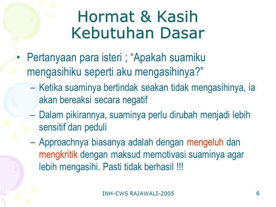 INH-CWS RAJAWALI-2005 17 C H A I R S (Tips bagi para istri) Bagaimana mengeja HORMAT kepada suamimu.