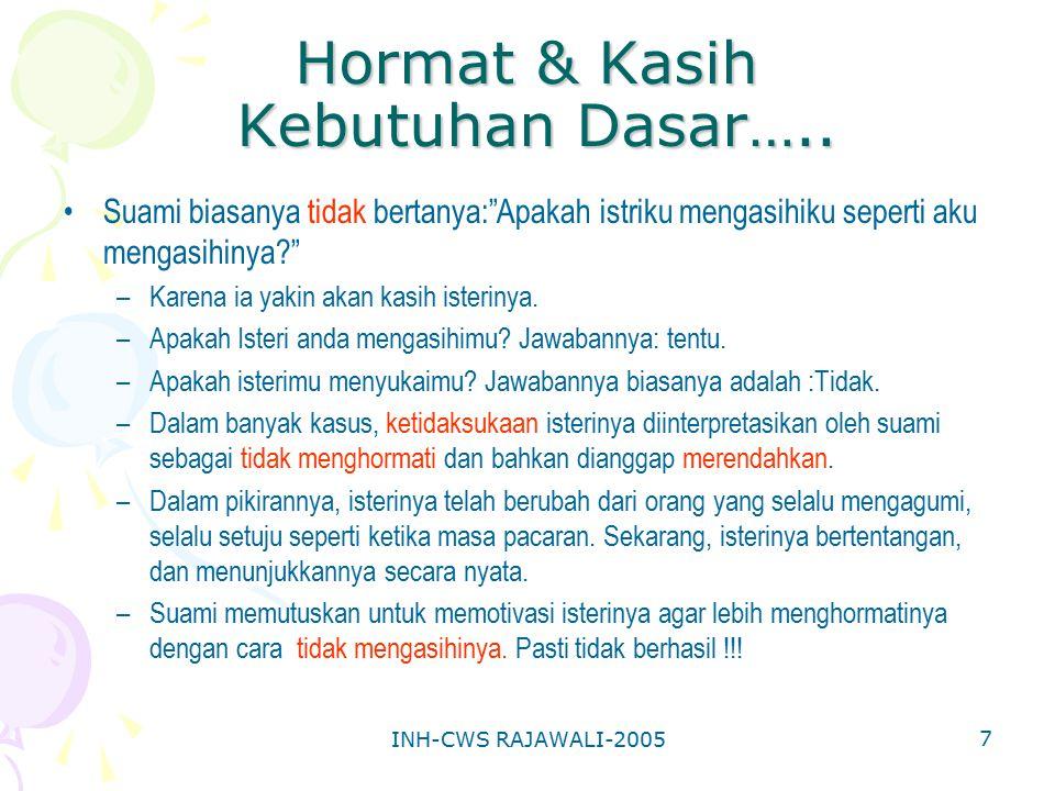 """INH-CWS RAJAWALI-2005 7 Hormat & Kasih Kebutuhan Dasar….. Suami biasanya tidak bertanya:""""Apakah istriku mengasihiku seperti aku mengasihinya?"""" –Karena"""