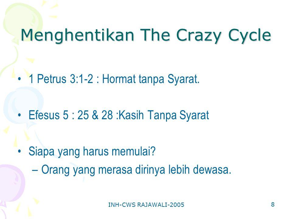 INH-CWS RAJAWALI-2005 8 Menghentikan The Crazy Cycle 1 Petrus 3:1-2 : Hormat tanpa Syarat. Efesus 5 : 25 & 28 :Kasih Tanpa Syarat Siapa yang harus mem