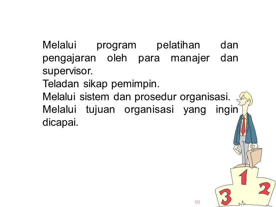10 Melalui program pelatihan dan pengajaran oleh para manajer dan supervisor.