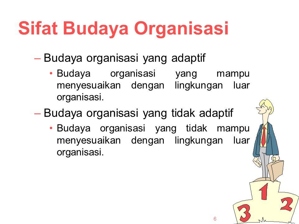 Sifat Budaya Organisasi –Budaya organisasi yang adaptif Budaya organisasi yang mampu menyesuaikan dengan lingkungan luar organisasi.