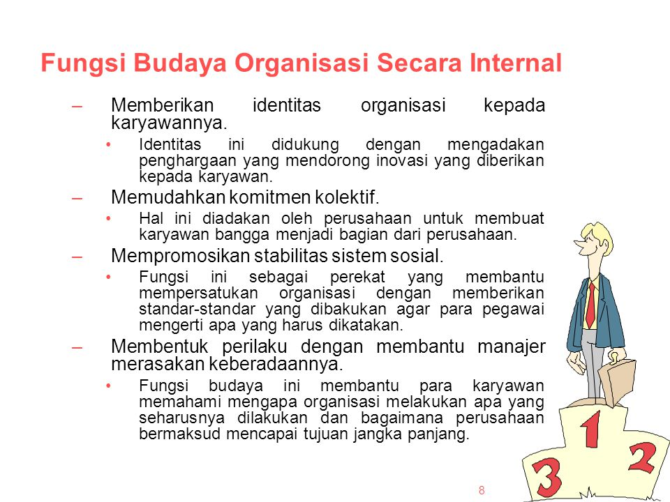 Fungsi Budaya Organisasi Secara Internal –Memberikan identitas organisasi kepada karyawannya.