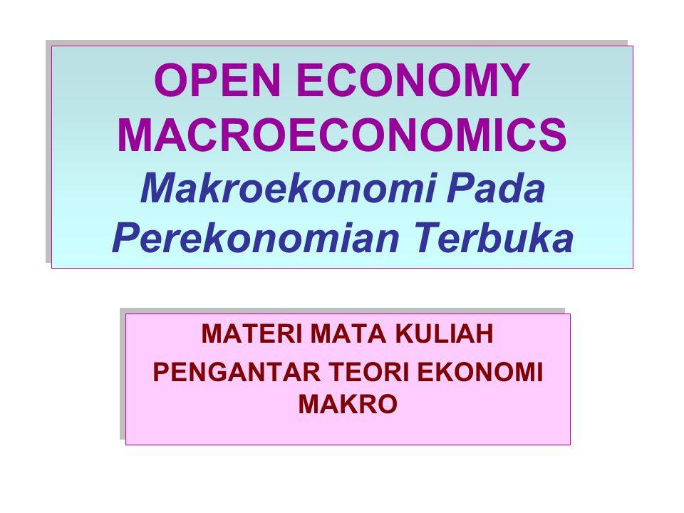 PENDAHULUAN Pada materi ekonomi terbuka ini kita akan membahas model perekonomian kecil terbuka yang meliputi Balance of Payment, keseimbangan perekonomian terbuka dan penentuan tingkat kurs (exchange rate)