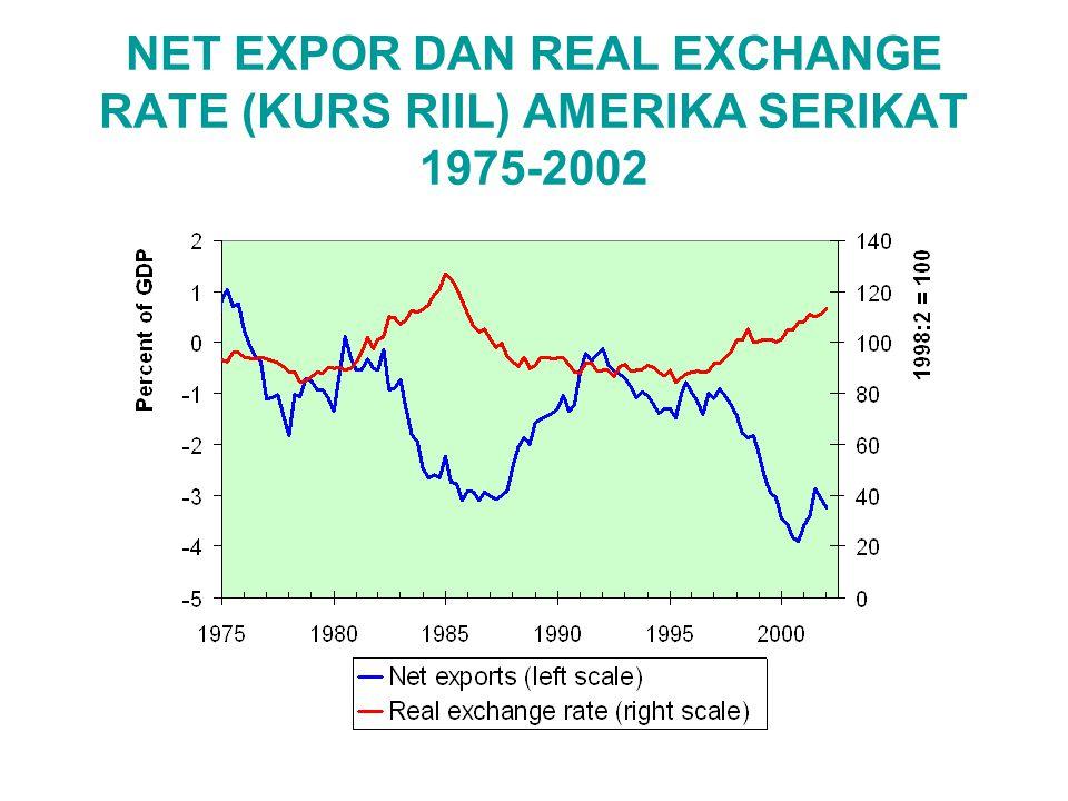 NET EXPOR DAN REAL EXCHANGE RATE (KURS RIIL) AMERIKA SERIKAT 1975-2002