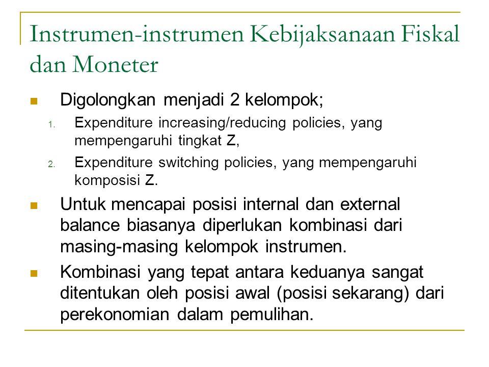 Instrumen-instrumen Kebijaksanaan Fiskal dan Moneter Digolongkan menjadi 2 kelompok; 1. Expenditure increasing/reducing policies, yang mempengaruhi ti