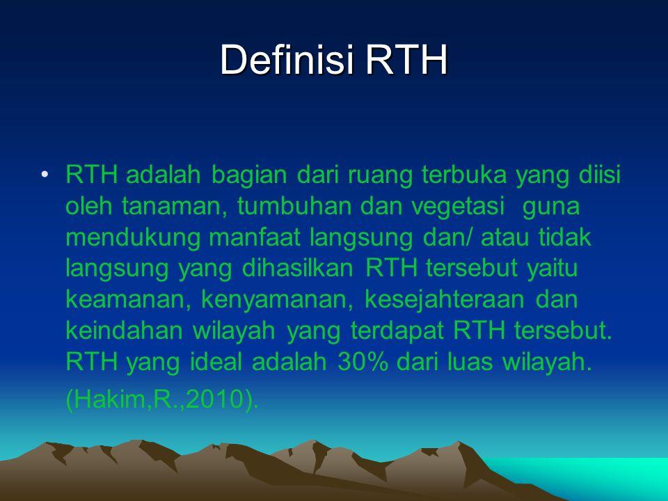 Definisi RTH RTH adalah bagian dari ruang terbuka yang diisi oleh tanaman, tumbuhan dan vegetasi guna mendukung manfaat langsung dan/ atau tidak langs