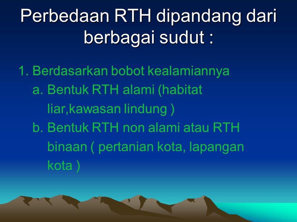 Perbedaan RTH dipandang dari berbagai sudut : 1. Berdasarkan bobot kealamiannya a. Bentuk RTH alami (habitat liar,kawasan lindung ) b. Bentuk RTH non