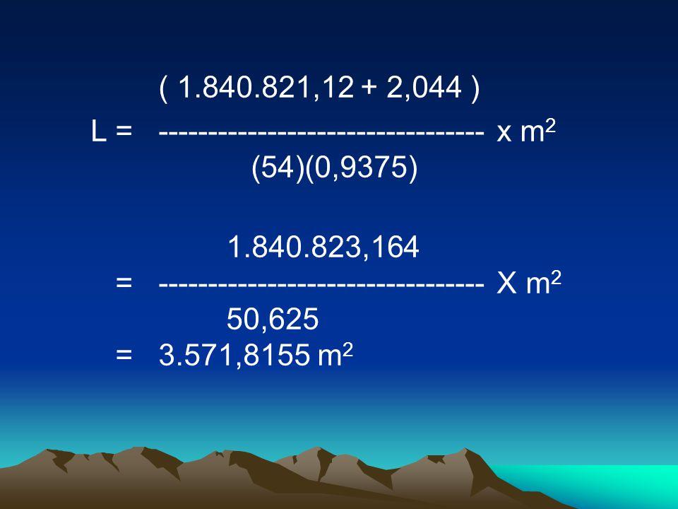 ( 1.840.821,12 + 2,044 ) L =--------------------------------- x m 2 (54)(0,9375) 1.840.823,164 =--------------------------------- X m 2 50,625 =3.571,