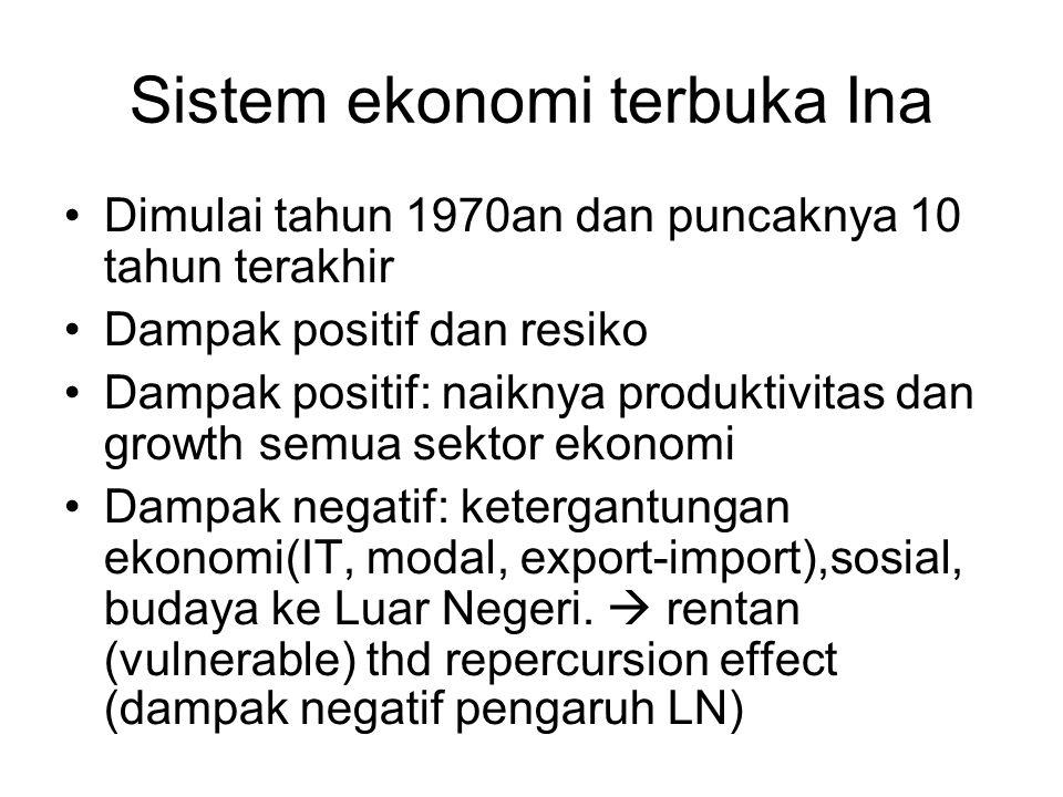 Sistem ekonomi terbuka Ina Dimulai tahun 1970an dan puncaknya 10 tahun terakhir Dampak positif dan resiko Dampak positif: naiknya produktivitas dan growth semua sektor ekonomi Dampak negatif: ketergantungan ekonomi(IT, modal, export-import),sosial, budaya ke Luar Negeri.
