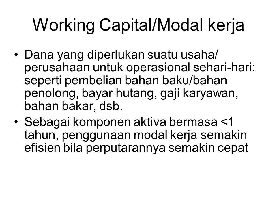 Working Capital/Modal kerja Dana yang diperlukan suatu usaha/ perusahaan untuk operasional sehari-hari: seperti pembelian bahan baku/bahan penolong, bayar hutang, gaji karyawan, bahan bakar, dsb.