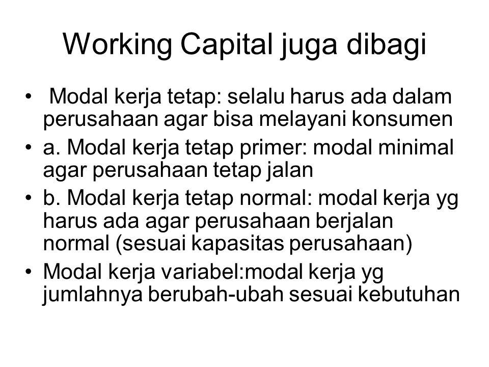 Working Capital juga dibagi Modal kerja tetap: selalu harus ada dalam perusahaan agar bisa melayani konsumen a. Modal kerja tetap primer: modal minima
