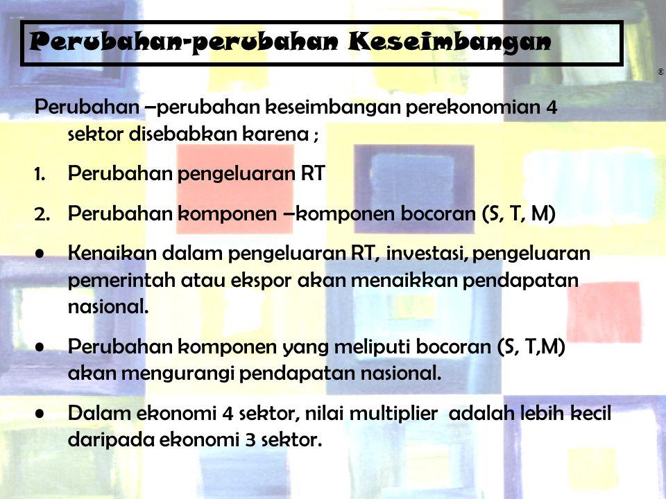 Chapter Five13 ® Perubahan-perubahan Keseimbangan Perubahan –perubahan keseimbangan perekonomian 4 sektor disebabkan karena ; 1.Perubahan pengeluaran