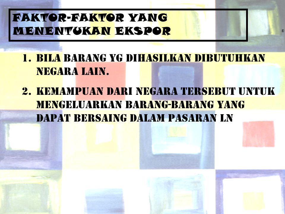 Chapter Five8 ® FAKTOR-FAKTOR YANG MENENTUKAN EKSPOR 1.Bila barang yg dihasilkan dibutuhkan negara lain. 2.Kemampuan dari negara tersebut untuk mengel